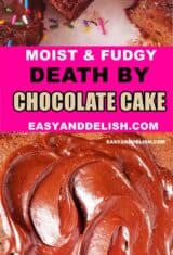 collage of death by chocolate cake