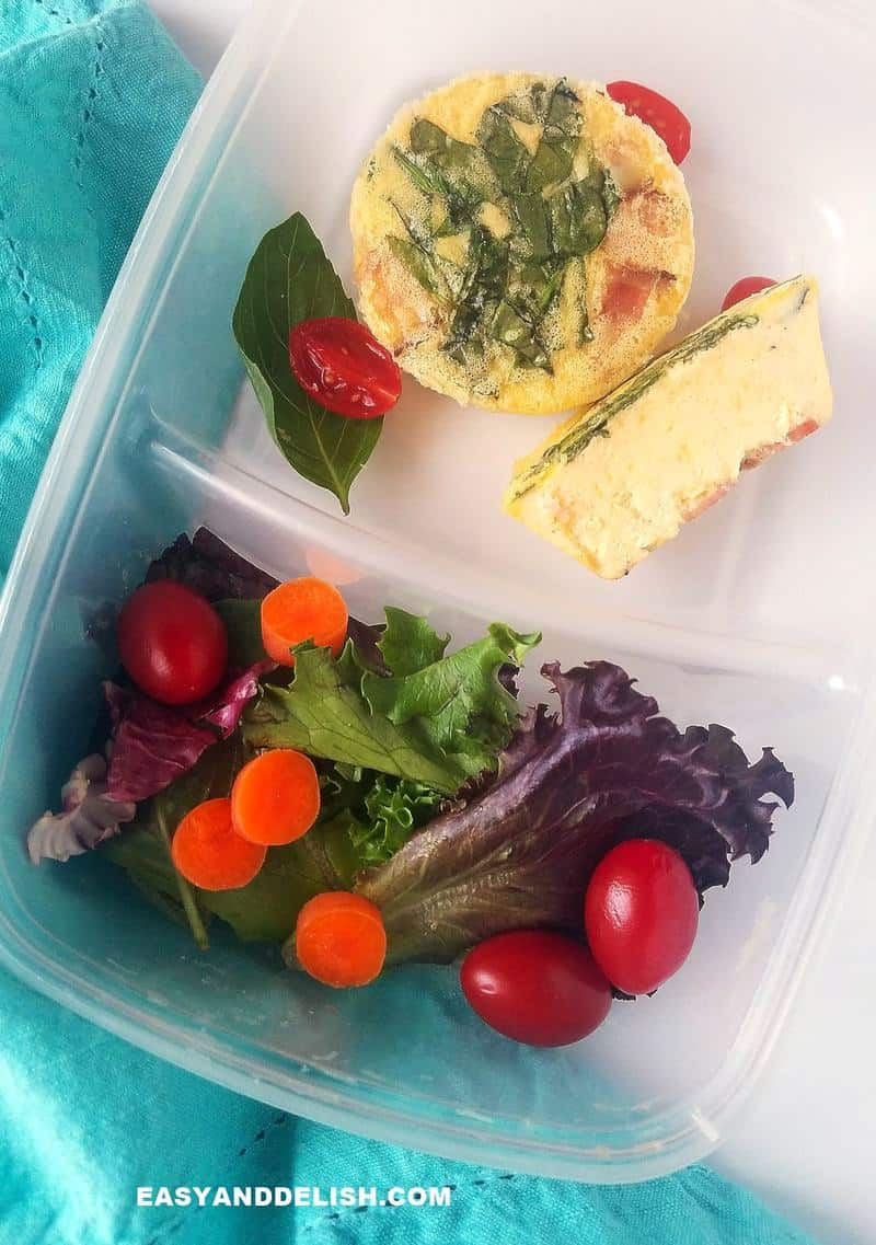 bento box with keto bites and salad