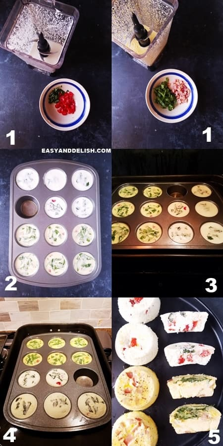 photo collage showing how to make egg bites in 5 steps