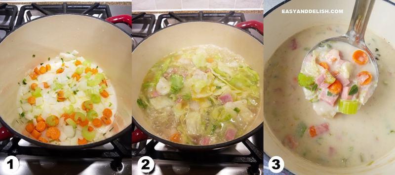 foto colagem mostrando como fazer sopa de legumes cremosa para emagrecer em 3 passos