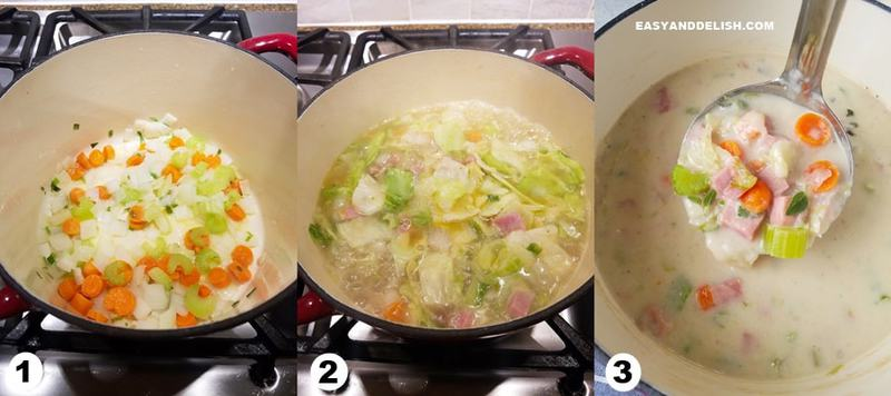 a three photo collage showing how to make ham and cabbage soup