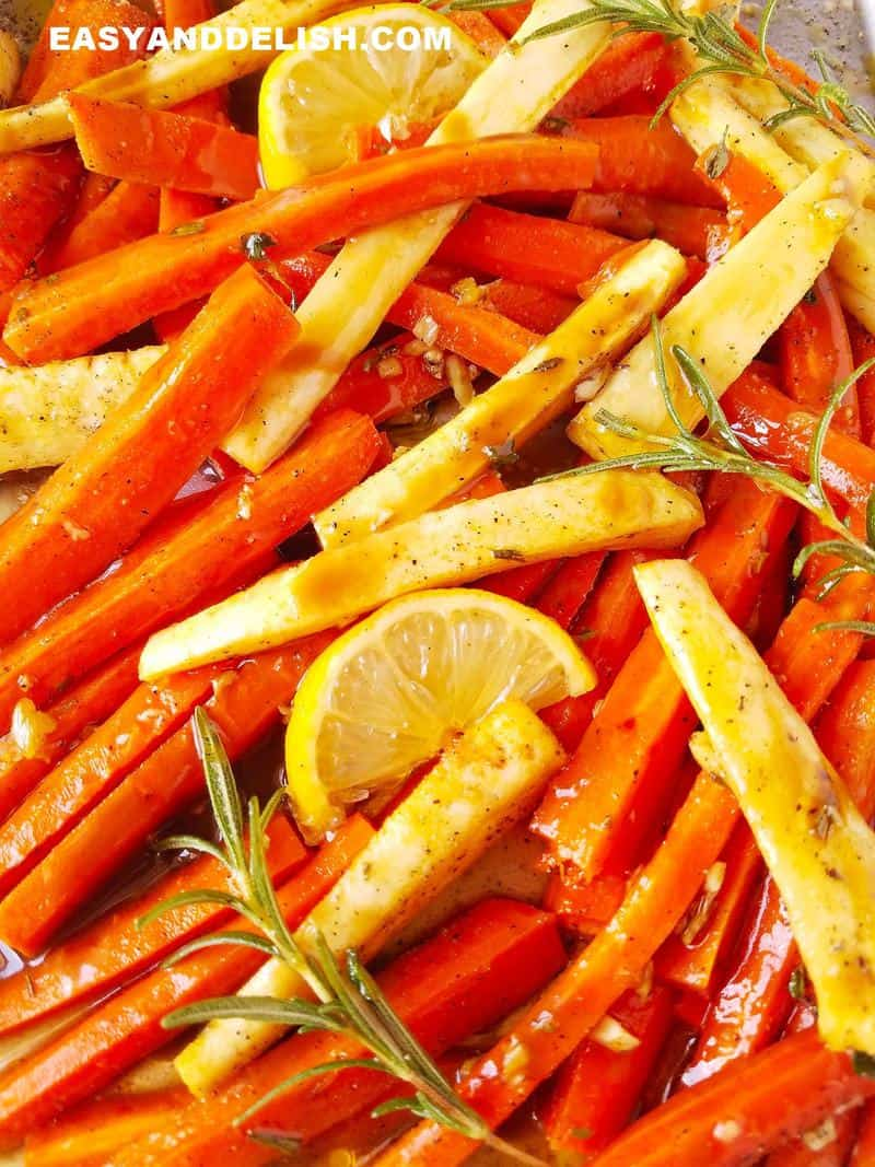 close up image showing roasted vegetables