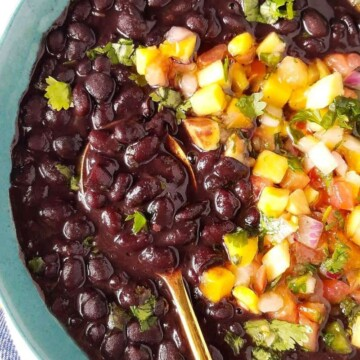 instant pot black beans served in a bowl