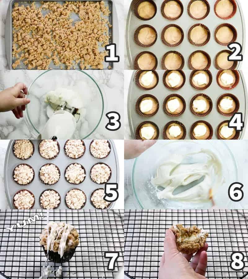 foto colagem mostrando como fazer bolinho de canela em 8 passos