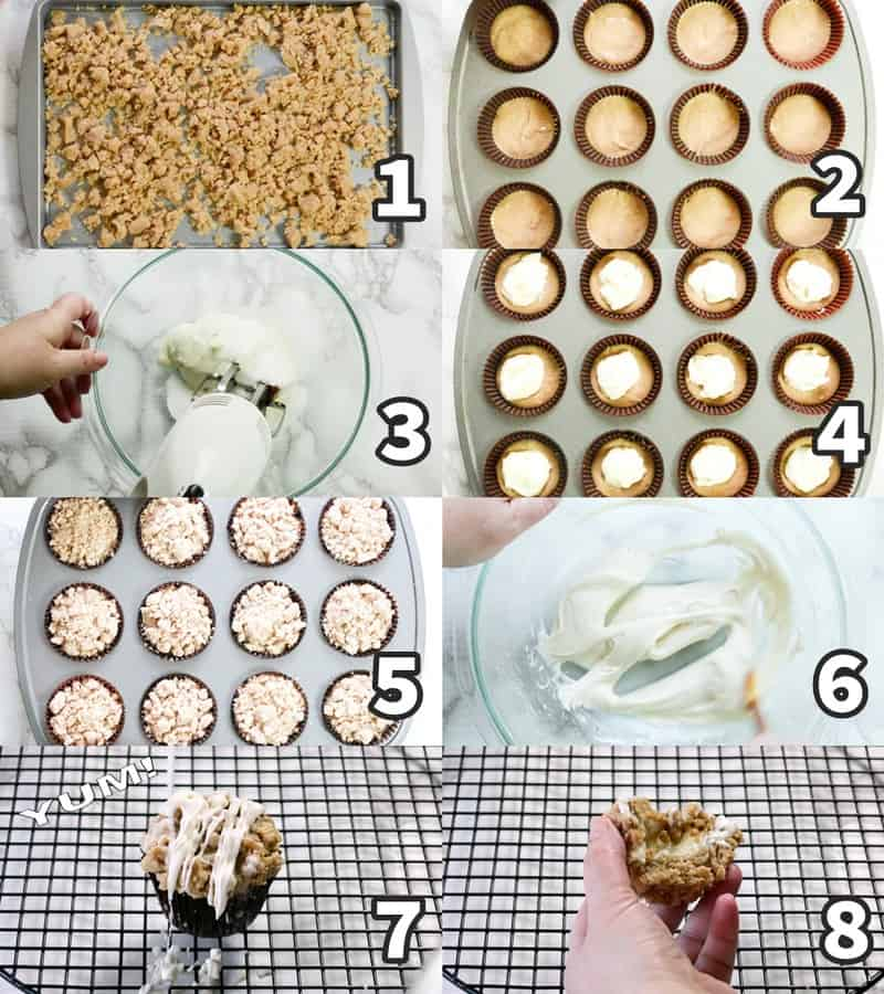 photo collage showing how to make cinnamon muffins in 8 steps