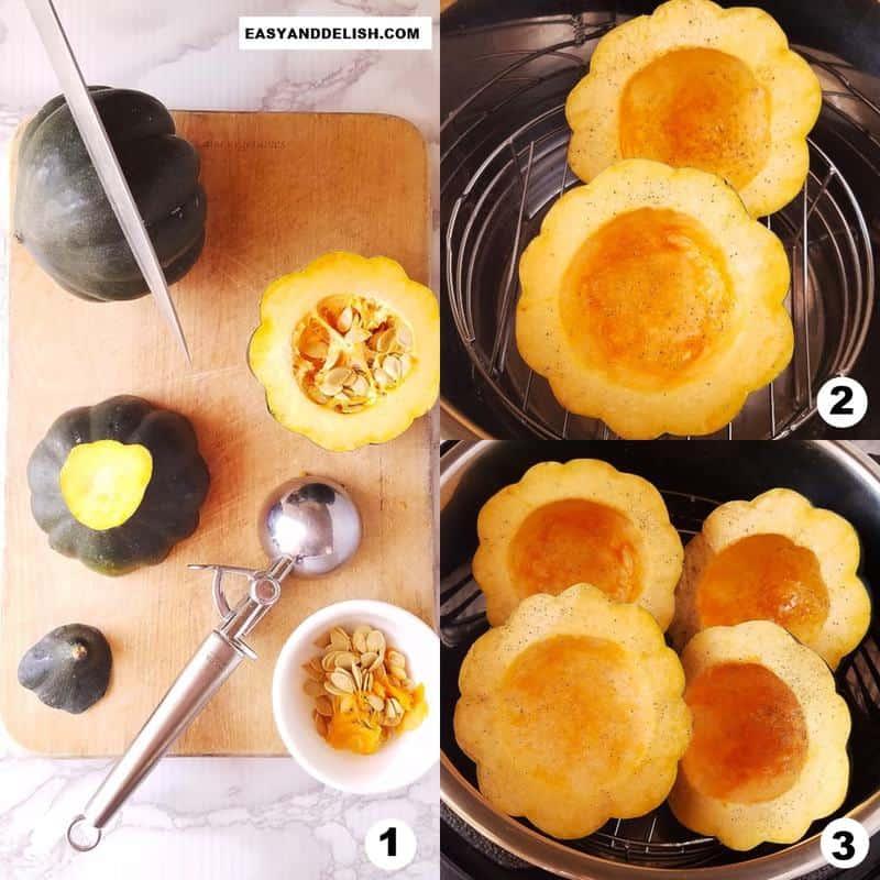 foto colagem mostrando como cortar e cozinhar abóbora bolota na pressáo