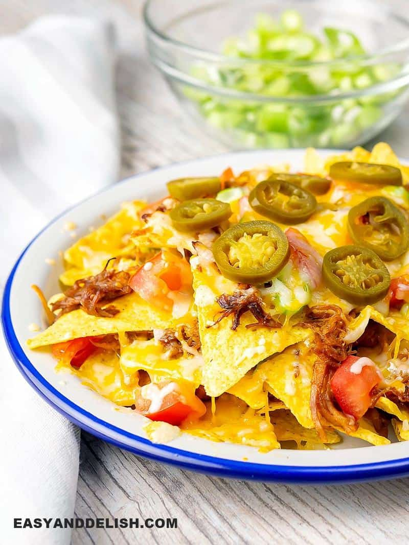 a plate with nachos and Instant Pot Pulled Pork on top