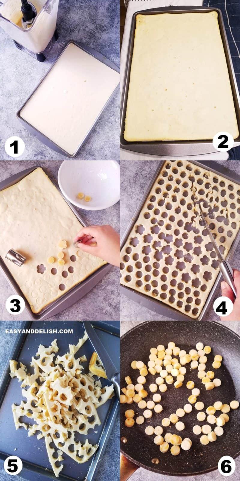 foto colagem mostrando como fazer mini panquecas americanas em 6 etapas