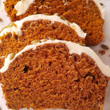 sliced easy pumpkin bread on a row