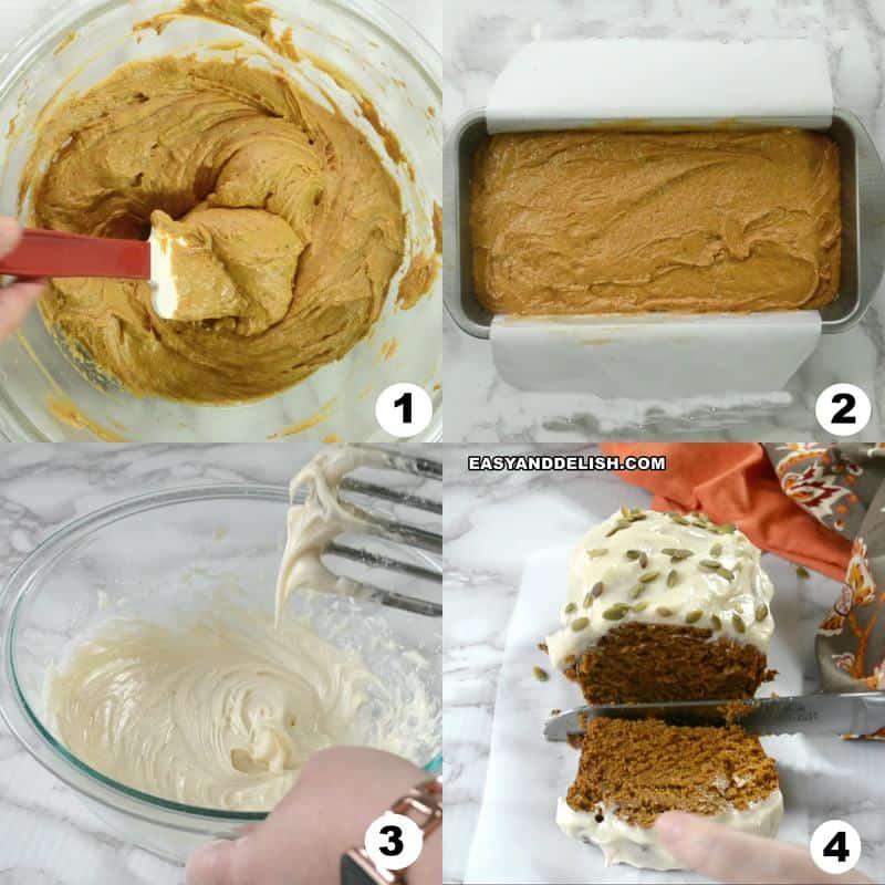 foto colagem mostrando como fazer pão de abóbora em 4 passos