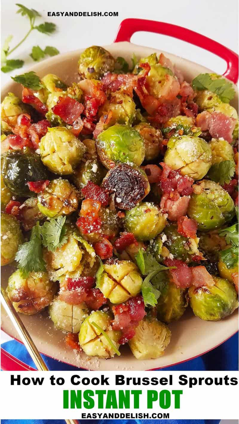 Instant Pot Brussels sprouts with bacon in a bowl