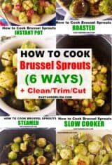 image collage showing how to cook brussels sprouts 6 different ways