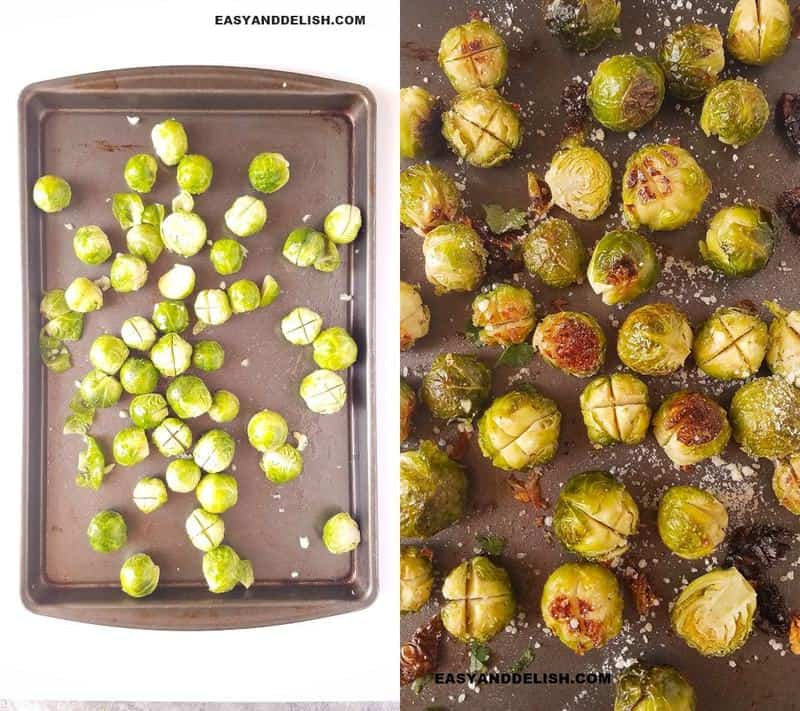 two image collage showing the process to roast sprouts