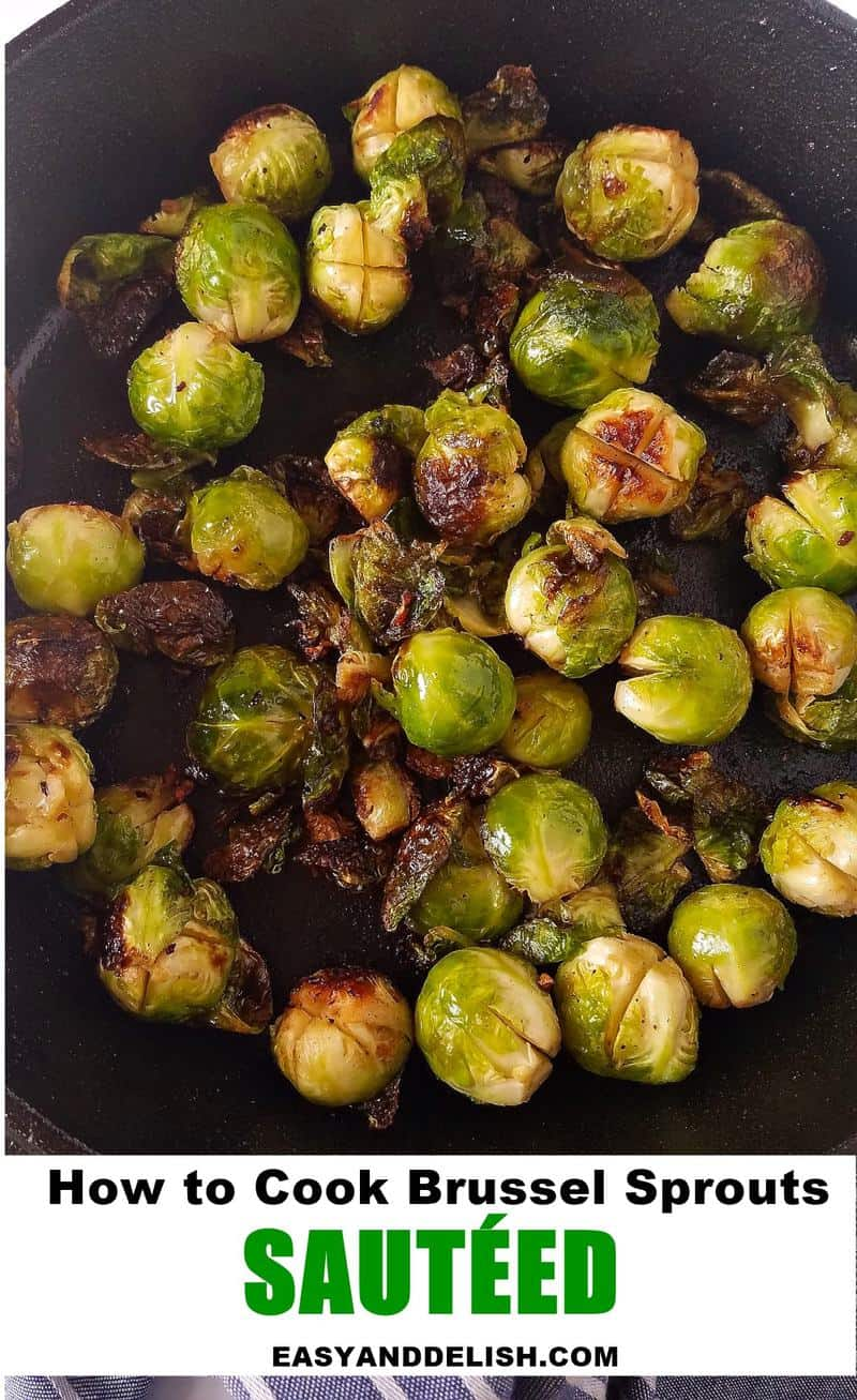 close up of sauteed sprouts in a cast-iron skillet