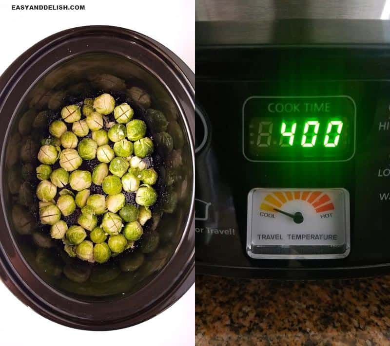 two image collage of sporuts being cooked in a slow cooker