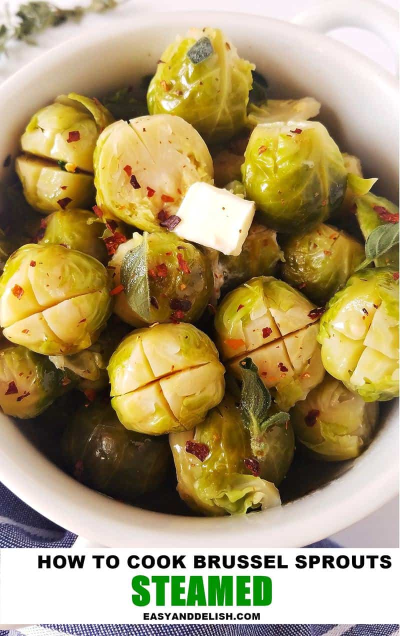 steamed brussels sprouts in a bowl with a pat of butter on top