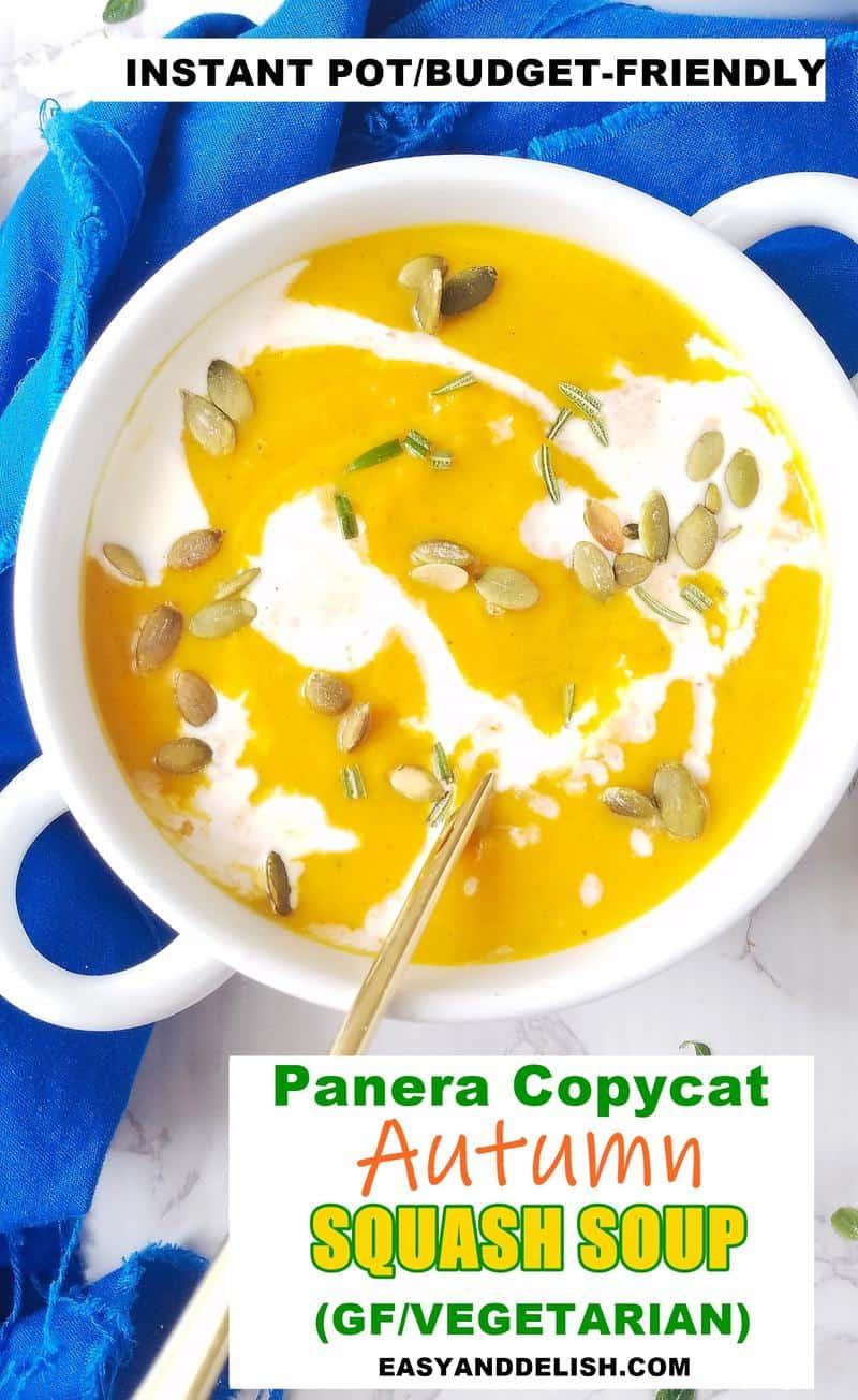 oone bowl of Panera copycat Autumn Squash Soup