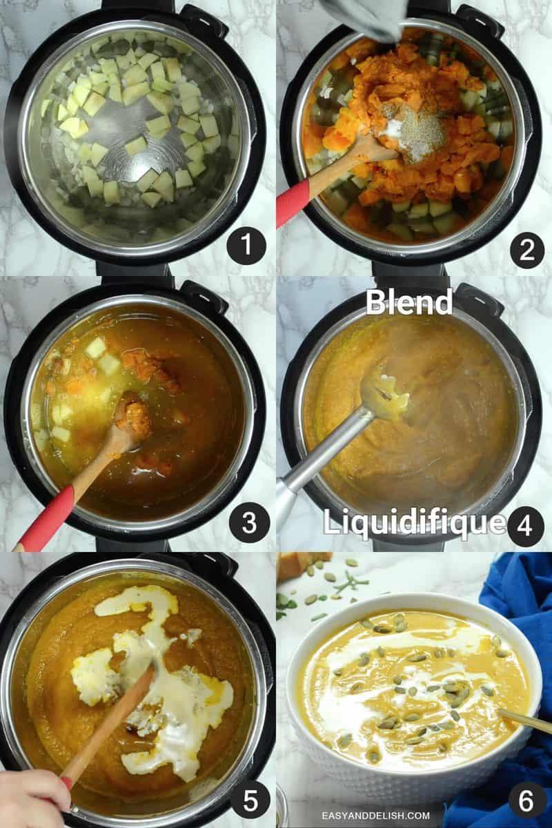 foto mostrando como fazer sopa de abóbora em 6 passos