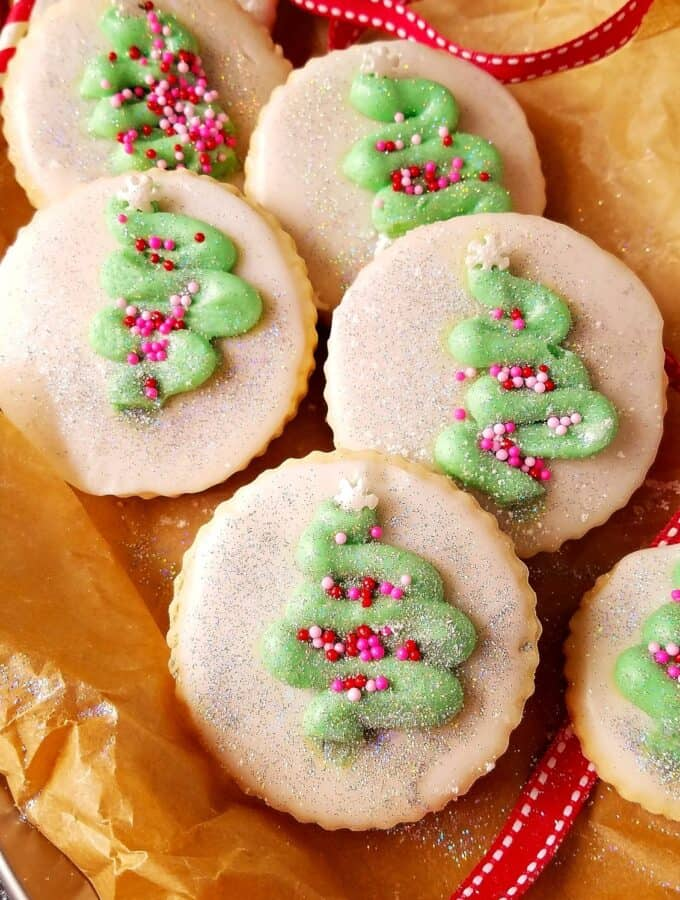 close up of coconut sugar cookies with sprinkles