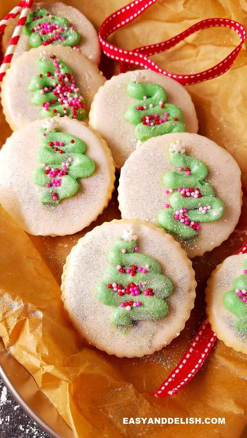 close up of sugar cookies with sprinkles