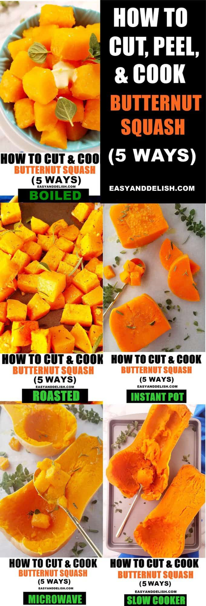 image collage showing all the 5 cooking methods to cook the vegetable
