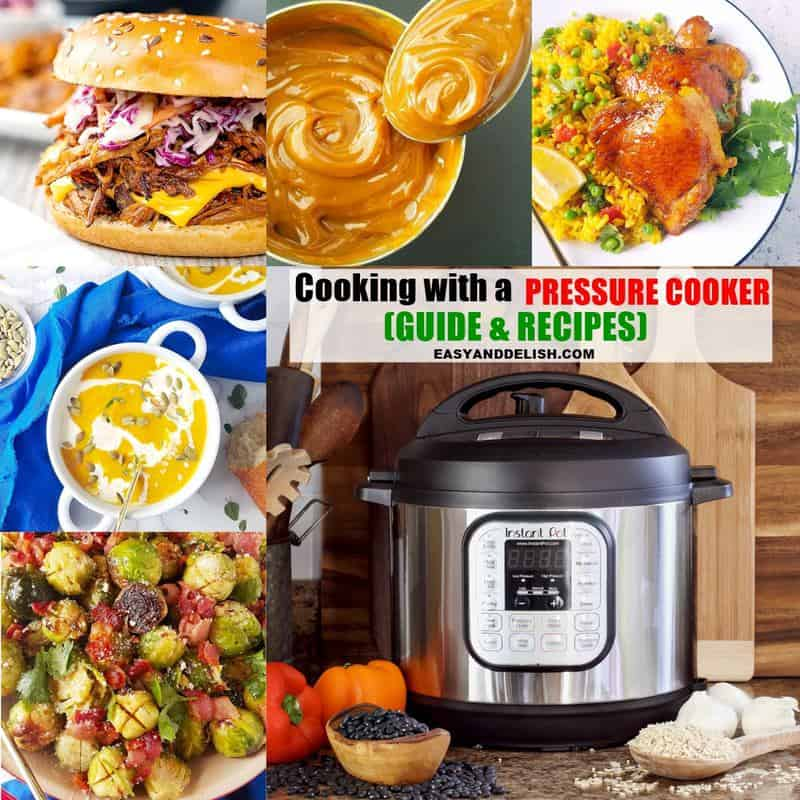 image collage showing how to pressure cooking several recipes (sides, mains, and desserts)