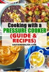 photo collage with several pressure cooker recipes for when you use the pressure cooker