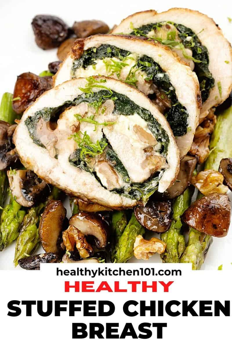 close image for pinterest of stuffed chicken breast