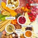 tábua de frios com carnes, queijos e mais