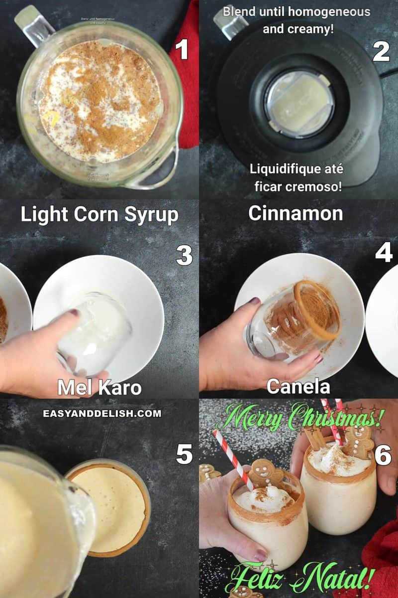 steps showing how to make dairy-free ggnog recipe