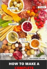 close up meat and cheese platter for pinterest