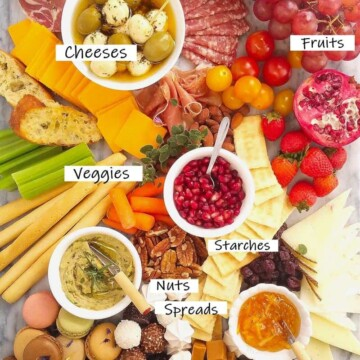 close up of a meat and cheese platter