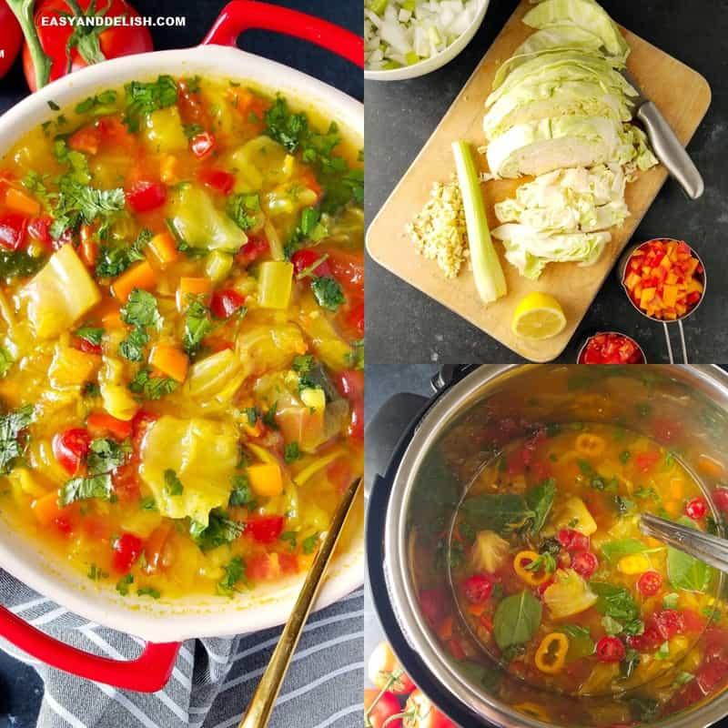 foto colagem mostrando como fazer a sopa de repolho