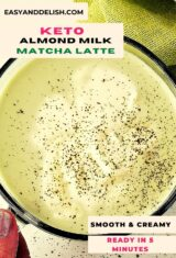 close up of a cup of almond milk matcha latte