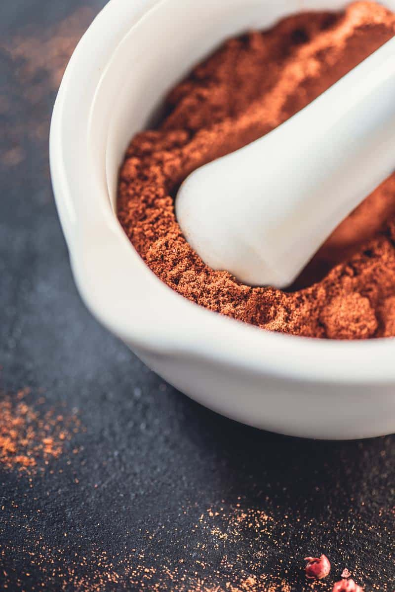 taco seasoning with a mortar and pestle