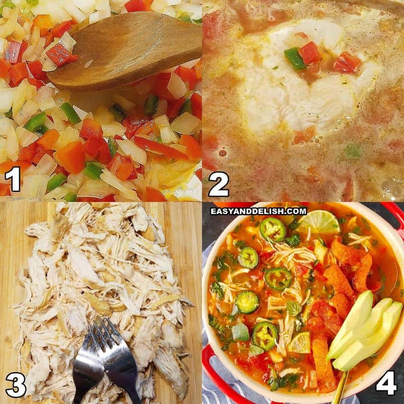 steps showing how to make chicken tortilla soup in the Instant Pot