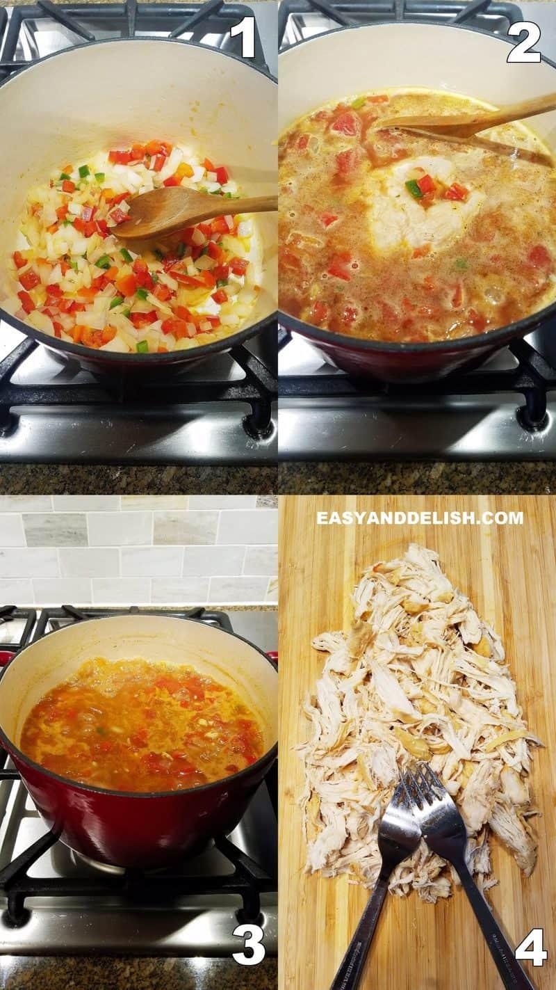foto colagem mostrando com fazer a comida no fogão