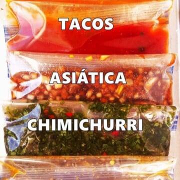 close up de marinadas em bolsas plásticas