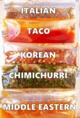 close up of 5 skirt steak marinades in plastic bags