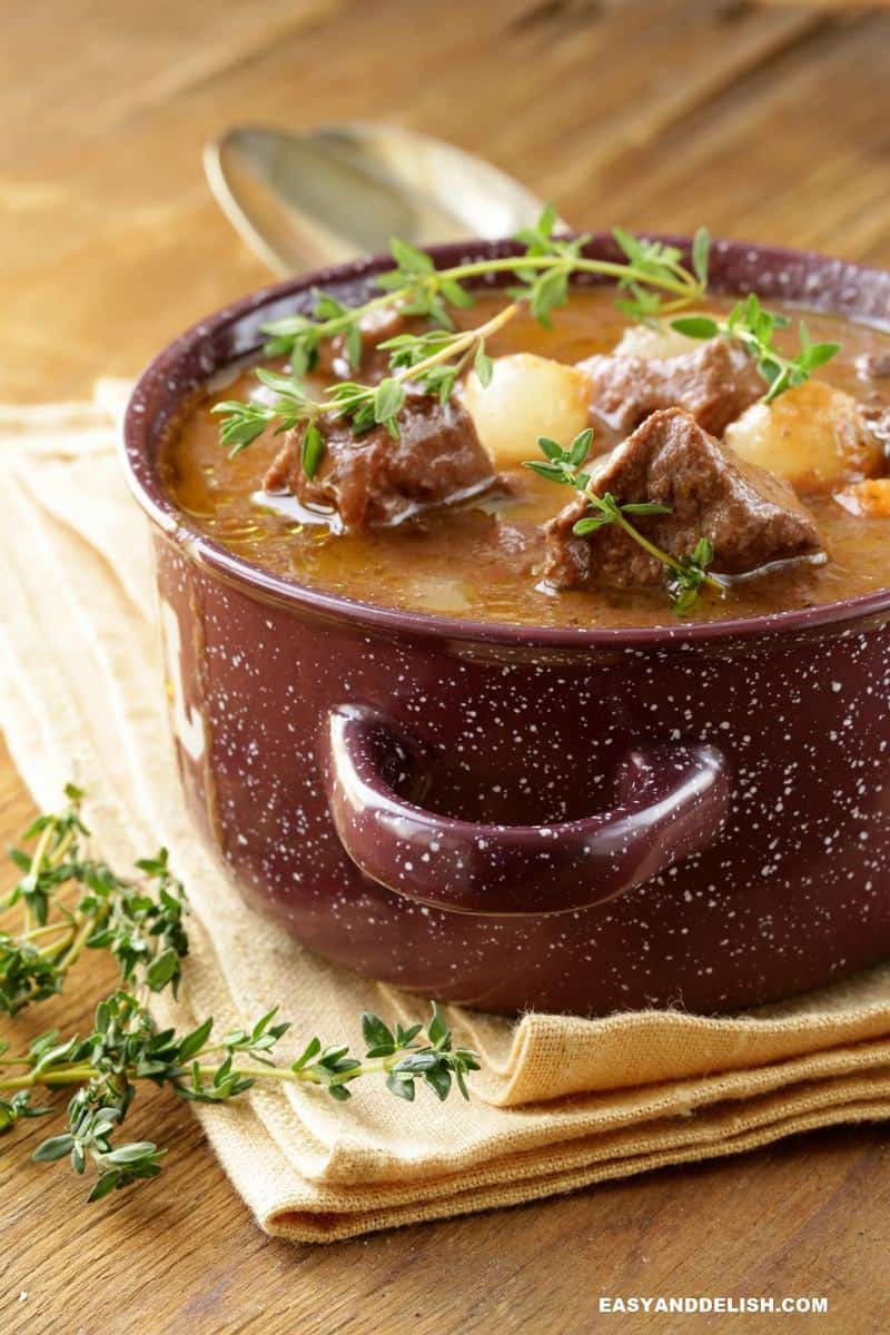 a pot of French braised beef with herbs