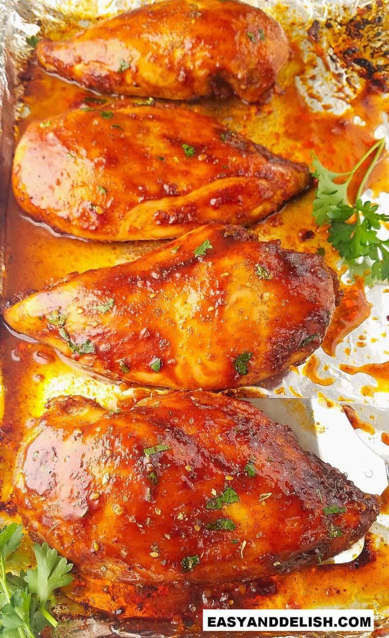 baked chicken breast in a baking sheet