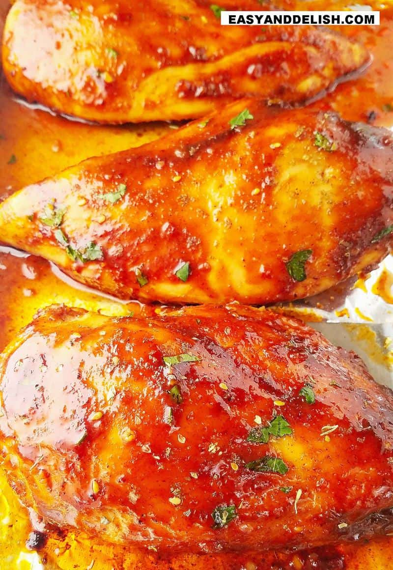 close up of several baked chicken breasts