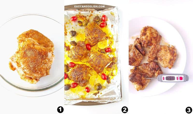 photo collage showing how to bake chicken thighs and how long to bake them