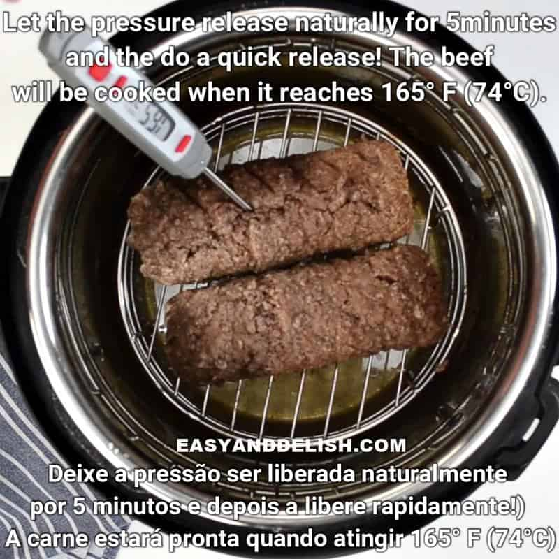 a meat thermometer inserted on cook ground beef in the instant pot