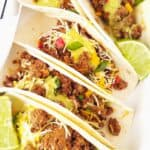 close up of instant pot ground beef served in tacos