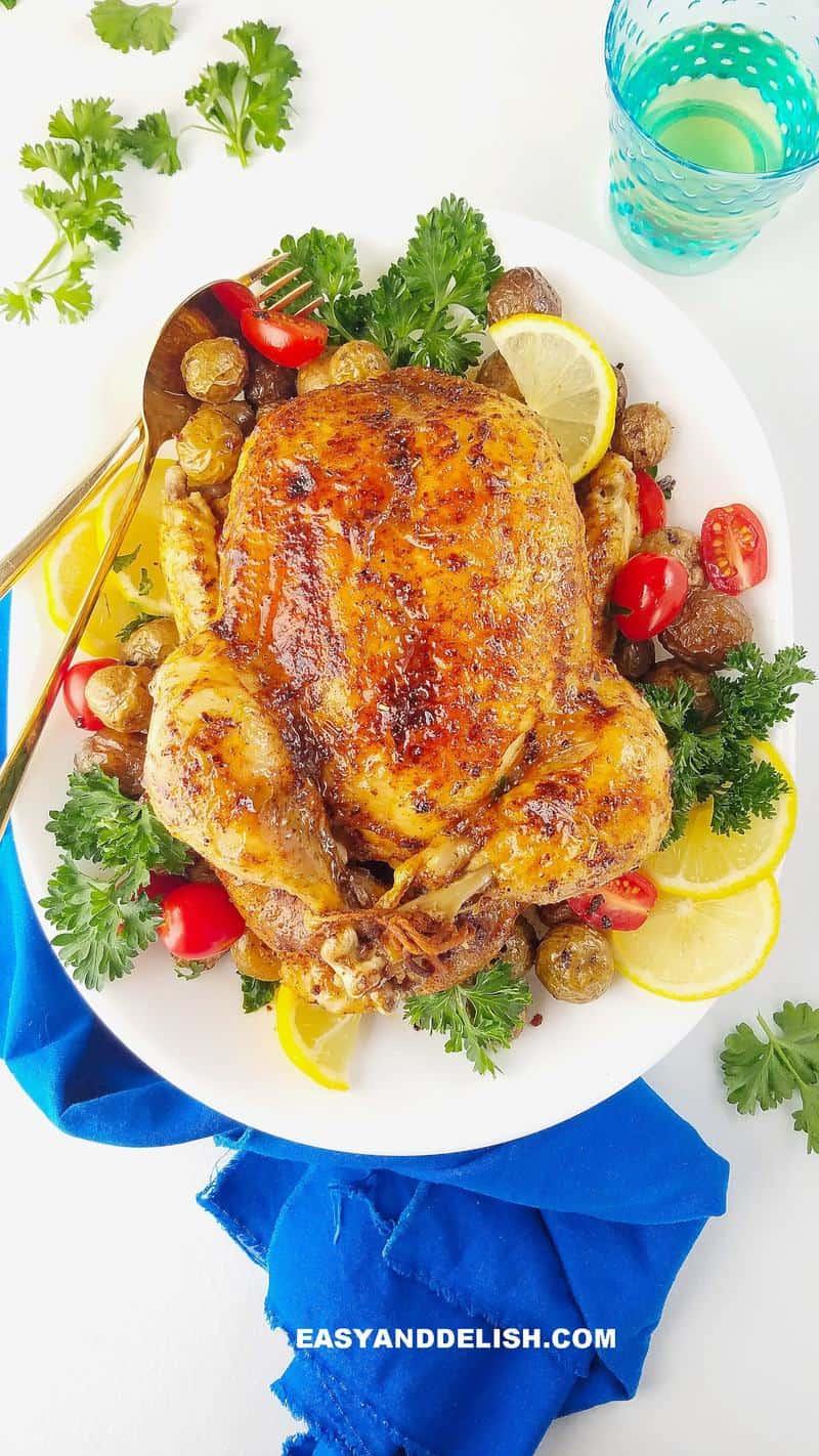 frango assado na panela de pressão servido em um prato