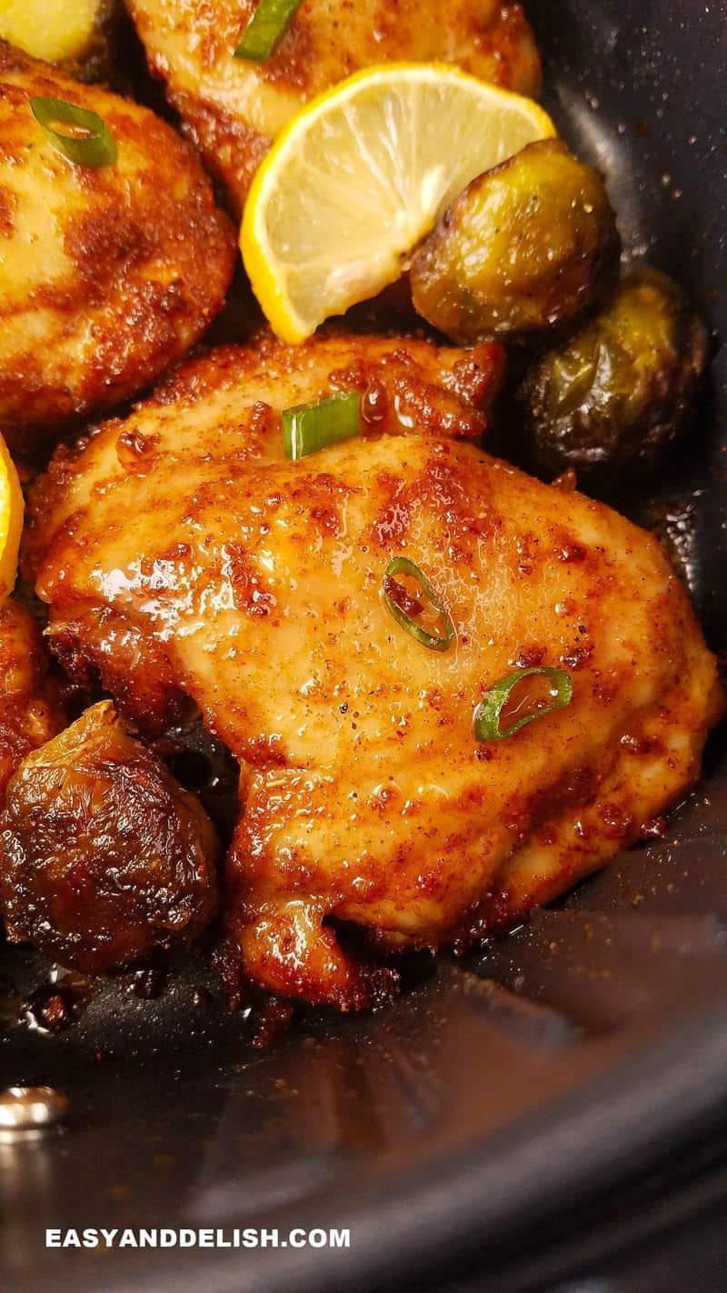 close up of air fryer boneless chicken thighs