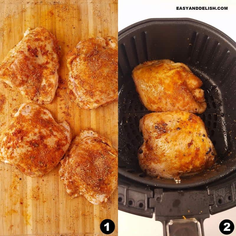 photo collage showing how to cook bone-in chicken thighs in the air fryer