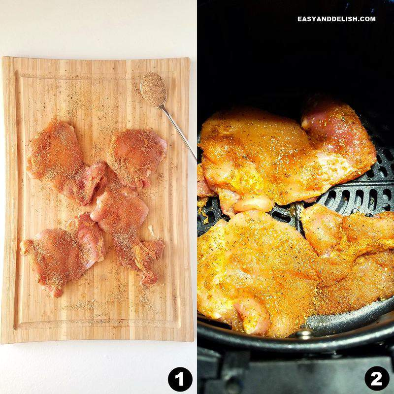 photo collage showing how to make air fryer boneless chicken thighs