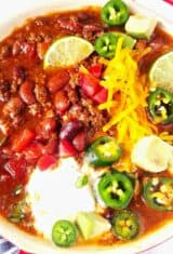close up of a bowl of chili
